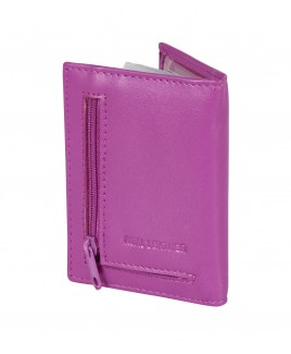 Lorenz Goat Nappa Credit Card Case with Back Zipped Pocket. Non-RFID - 30% Discount!!