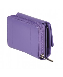 Goat Nappa RFID Proof Zip Round Purse with Front Flap