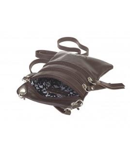 London Leathergoods Soft Grain Cow Hide Nappa Cross-Body Neck Purse/Bag