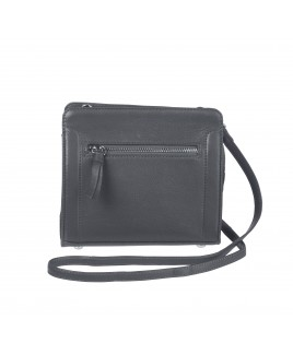 London Leathergoods Soft Grain Cow Hide Nappa Small Cross-Body Bag with Front Pocket