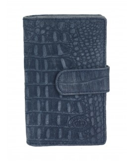 London Leathergoods RFID Protected 22 Slot Credit Card Case with Tab & ID Window - Vintage Croc Leather-BIG PRICE DROP!!