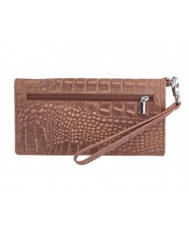 London Leathergoods RFID Protected Clutch Purse with Wrist Sterap- Vintage Croc Leather-BIG REDUCTION!
