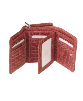 London Leathergoods RFID Protected Zip Round Purse with Front Flap & Back Window - Vintage Croc Leather-NEW LOW PRICE