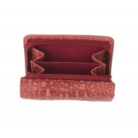 London Leathergoods RFID Protected Zip Round Purse with Front Flap & Back Window - Vintage Croc Leather