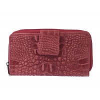 London Leathergoods RFID Protected Zip Round Purse with Tab Fastening - Vintage Croc Leather
