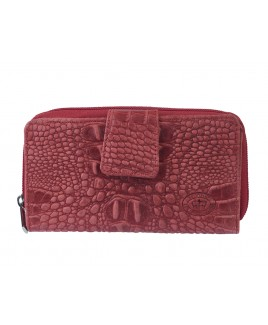 London Leathergoods RFID Protected Zip Round Purse with Tab Fastening - Vintage Croc Leather-NEW LOW PRICE