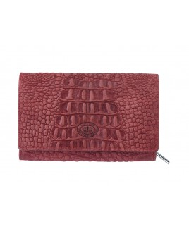 London Leathergoods Flapover Purse - Vintage Croc Leather. Non-RFID - 30% Discount!!