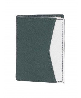 London Leathergoods Contrast Coloured Credit Card Case with a Front Pocket & Inner ID Window