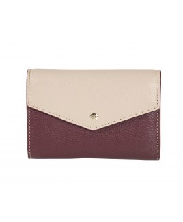 London Leathergoods Contrast Coloured Envelope Style Medium Flapover Purse with RFID Protection