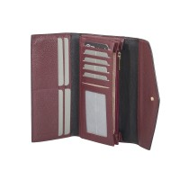 London Leathergoods Contrast Coloured Envelope Style Large Flapover Purse with RFID Protection