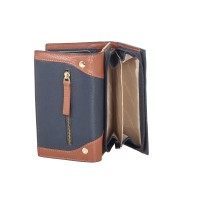 London Leathergoods Contrast Coloured Semi Zip Round Purse with Front Trifold Wallet Section - RFID Protected