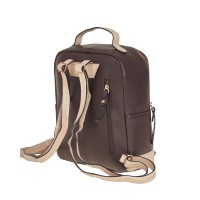 London Leathergoods Contrast Coloured Zip Round Backpack