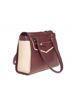 London Leathergoods Contrast Coloured Top Zip Hand Bag