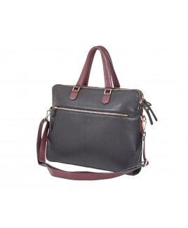 London Leathergoods Contrast Coloured Work/Laptop Bag
