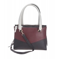 London Leathergoods Contrast Coloured Triple Zipped Hand Bag