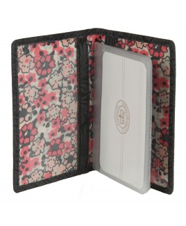 London Leathergoods 10 Leaf RFID Proof Credit Card Case - Vintage Floral Leather