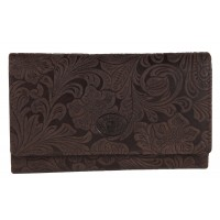 London Leathergoods Vintage Floral Leather Flapover Purse. Non-RFID - 30% Discount!!