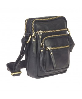 London Leathergoods Full Grain Cow Hide Unisex Cross-Body Bag with 6 Zips- PRICE REDUCTION