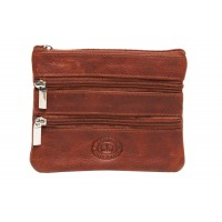 London Leathergoods Two Tone Cow Trumpler Two Front and back Zip Purse- Special Offer