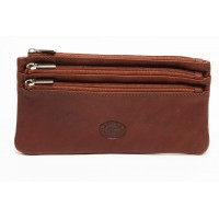 London Leathergoods Two Tone Cow Trumpler Long Top Zip Purse- Special Offer