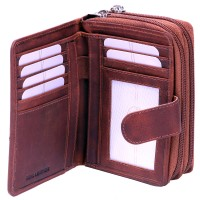 London Leathergoods Two Tone Cow Trumpler Twin Zip Round Purse Wallet- Special Offer