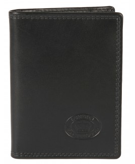 Cow Nappa Credit Card Case with Back Zip Pocket