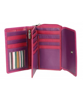 London Leathergoods Cow Nappa RFID Proof Zip Round Purse with Front Flap- Price Reductions !