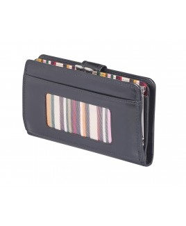 London Leathergoods Cow Nappa RFID Protected Framed Purse Wallet- Price Drop !