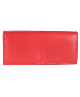 London Leathergoods Cow Nappa Long Flapover Purse with Back Zip-PRICE DROP!
