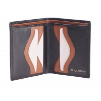 London Leathergoods Contrast Colour Twin Note Section Bifold Notecase