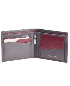 London Leathergoods Contrast Colour Bifold Notecase with Geometric Card Slot Design