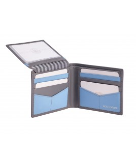 London Leathergoods Contrast Colour Bifold Notecase with a Flapped ID Window