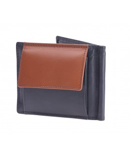 London Leathergoods Contrast Colour Money Clip Notecase