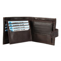 Grained Leather Notecase Credit Card Case, Flap and Change Section