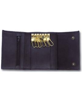 Sheep Nappa Keycase with 6 Hooks & Zip Pocket