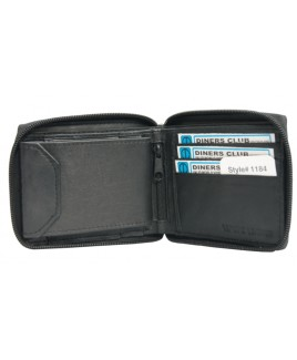 Sheep Nappa RFID Proof Zip Round Note and Credit Card Case