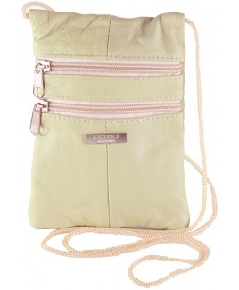 Coloured Sheep Nappa Triple Zip Neck Purse/Mini Bag