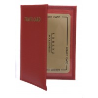 Portrait Style Leather Grain PU Travel Card Holder