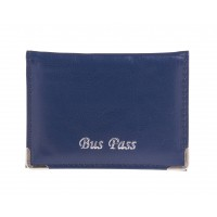 Shiny Leather Grain PU Bus Pass Holder with Back Zip