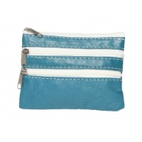 Bright Coloured Soft Sheep Nappa Multi Zip Purse with Inner Keyring