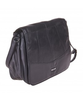 Lorenz Large Sheep Nappa Bag with Front Flap, Multi Zips & Adjustable Strap