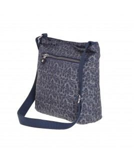 Lorenz Animal Patterned Jaquared Top Zip Cross-Body Bag with Back Zipped Pocket