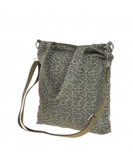 Lorenz Animal Patterned Jaquared Top Zip Twin Handle Bag with 2 Front Pockets