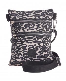 Lorenz Small Animal Print Across-Body Nylon Top Zip Bag with 2 Front Zips & Back Zip