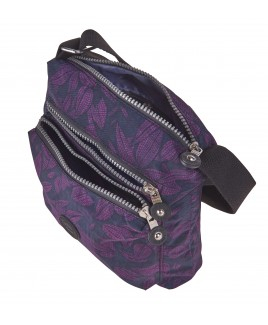 Lorenz Top Zip Cross-Body Crinkled Nylon Bag with a Back Zipped Pocket