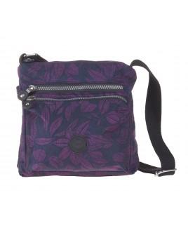 Lorenz Top Zip Cross-Body Crinkled Nylon Bag with a Back Zipped Pocket