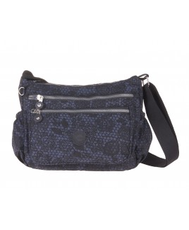 Lorenz Top Zip Cross-Body Crinkled Nylon Bag with Two Side Pockets