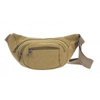 Multi Zip Unisex Canvas Oval Shaped Bumbag with 4 Zips