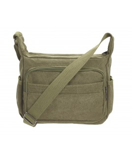 Large Unisex Canvas Bag with Top Zip, 2 Front Zips and Back Zip