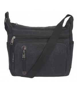 Large Unisex Canvas Bag with Top Zip, 3 Front Zips and Back Zip
